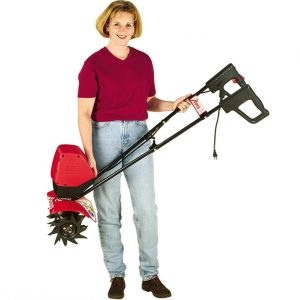Electric tiller held by woman