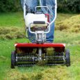 Lawn Dethatcher Attachment for XP tiller in action