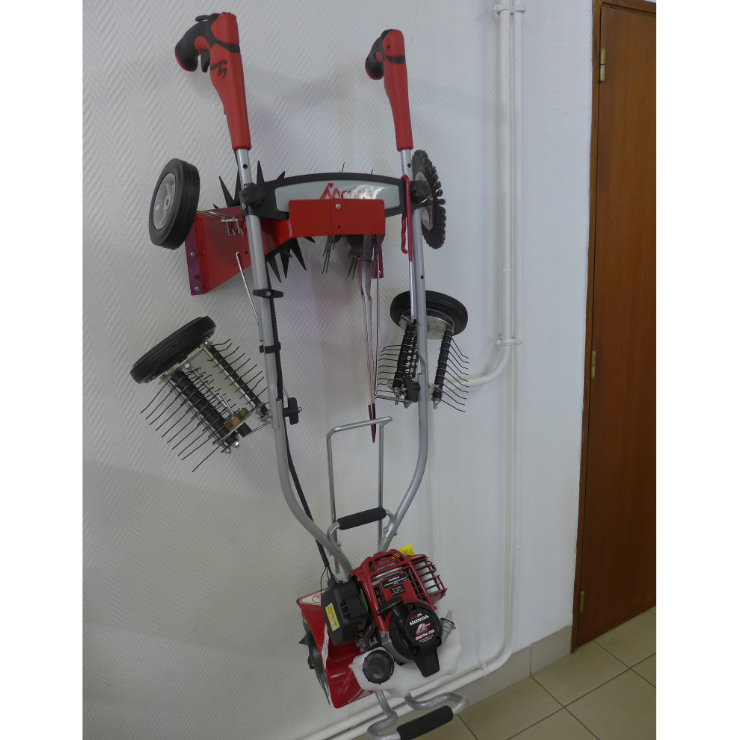 Mantis Tiller Storage Rack 811005 with assorted attachments