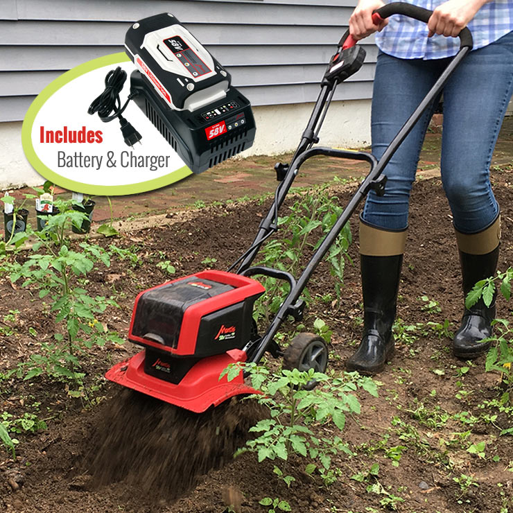 Mantis Cordless Tiller 3558 cultivating tomato plants