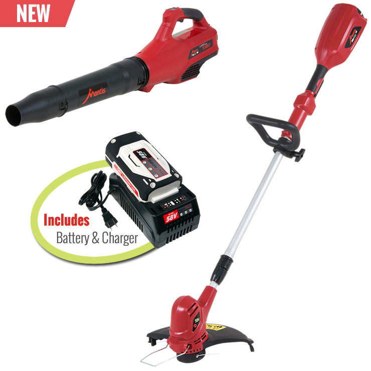 Mantis Cordless 58V Blower and String Trimmer Combo With Battery and Charger