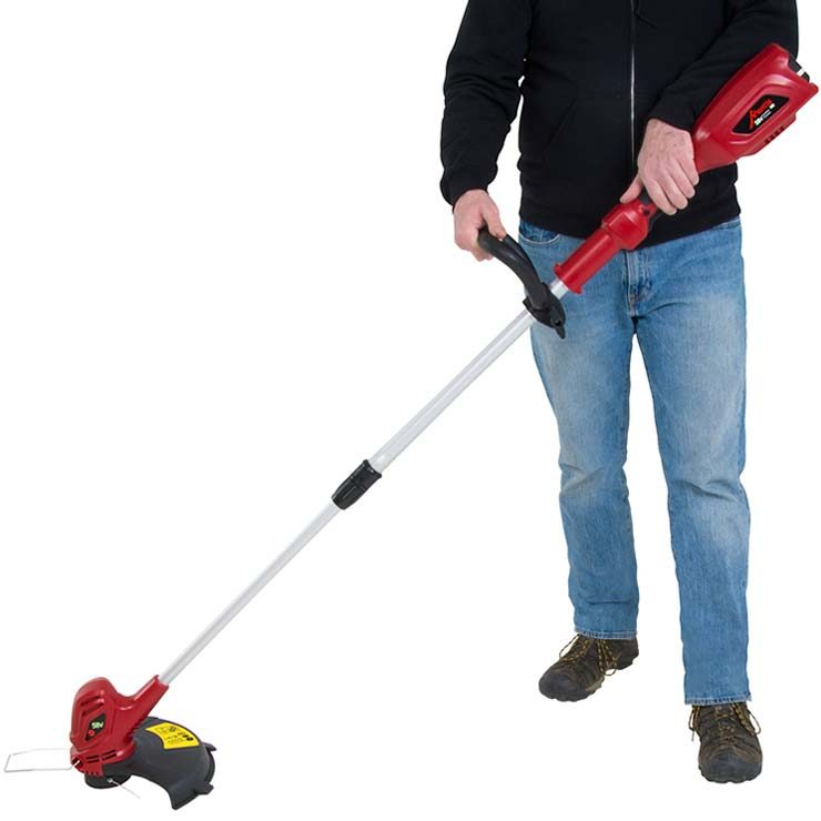 Mantis cordless string trimmer hand on grip