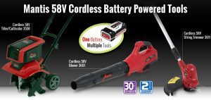 Mantis cordless lawn and garden tools lineup