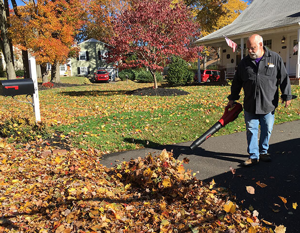 man blowing leaves from driveway