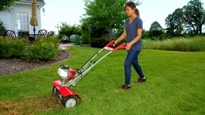 Removing thatch from lawn Mantis Tiller
