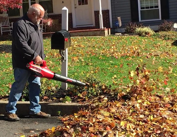blowing leaves with Cordless Blower